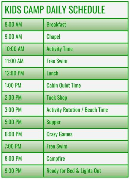hourly schedule for kids camp